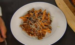Penne with Roasted Eggplant & Savory Mushroom Ragout
