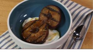 Grilled Plums with Yoghurt and Spiced Maple Syrup