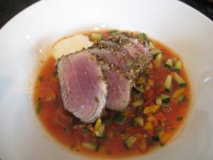 Spiced Seared Tuna with  Gazpacho Top Chef