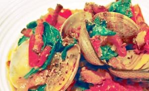 Steamed Clams with Spinach Tomatoes and Smoked Bacon