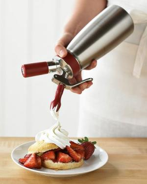 Using a whip cream dispenser is an easy way to get whipped cream in a jiffy.