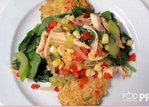 O'Brien Shred Cakes with Roasted Chicken Salad