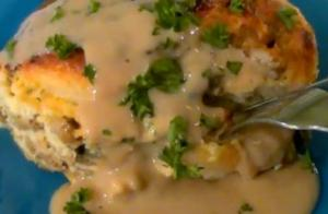 Turkey Sausage, Egg and Biscuit Casserole with Gravy