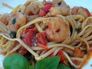Shrimp Linguini with Burst Tomatoes and Fresh Basil