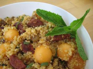 Quinoa, Melon, Chorizo and Raisins Make a Simply Delicious Salad