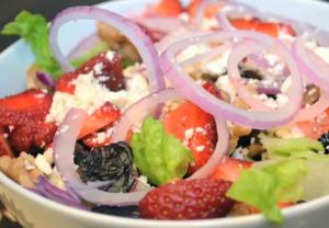 Tangy Balsamic Vinaigrette Dressed Summer Fruit and Veggie Salad