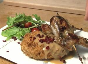 Thanksgiving Japanese Fusion Cooking - Quail Yakitori and Turkey Cranberry Korokke with Miso Gravy
