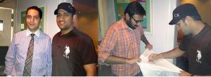 Dhoni with a friend and on the right, signing a fan's T-shirt.