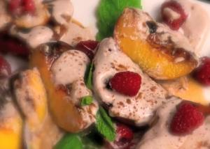 Grilled Peaches Topped with Yogurt Sauce