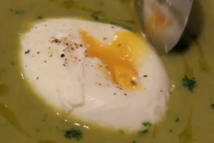 Pea Soup with Poached Egg
