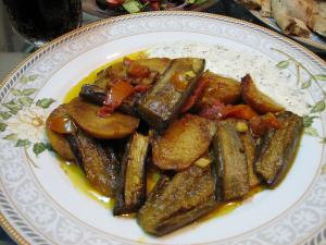 Badenjan - Afghan eggplant curry is typically eaten with Naan or Long grained Basmati rice