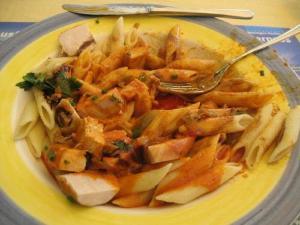 Pasta with Fajita Style Chicken and Tomatillo Tomato Salsa
