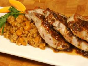 Roasted Pork Chops with Maple Mustard Sauce and Butternut Squash Risotto