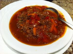 Tomato Hamburger Soup with Quinoa