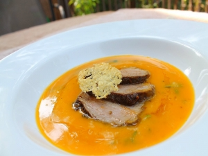 Roasted Butternut Squash Soup with Pork Tenderloin