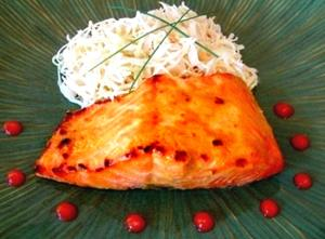 Mustard And Rice Vinegar Glazed Broiled Salmon