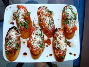 Chevre And Roasted Pepper Bruschetta