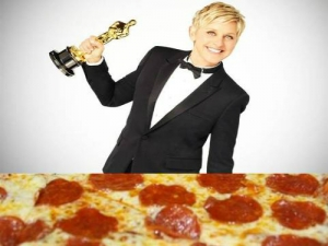 Ellen orders pizza at oscars