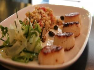 Lulu's Pan Roasted Sea Scallops with Red Quinoa, Parsnips and Limonata