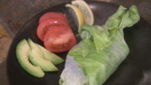 Vegetable and black bean lettuce wraps