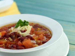 Spicy Salsa Bean Soup (Iron Rich) by Tarla Dalal