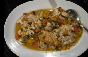 Black Fish With Mushrooms And Cherry Tomatoes