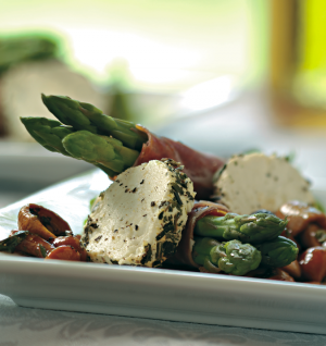 Prosciutto-Wrapped Asparagus with Goat Cheese and Mushroom Salad