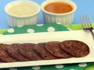 Ragi and Coriander Uttapa (Calcium and Iron Rich Snack) by Tarla Dalal