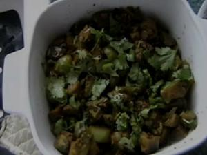 Curried Green Tomatoes & Eggplant Side Dish