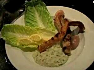 Mashed Cauliflower with Grilled Pork Strips