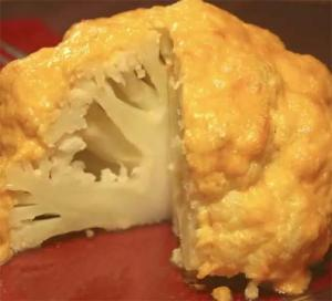 Steamed Cauliflower with Baked Mayo and Cheese Sauce