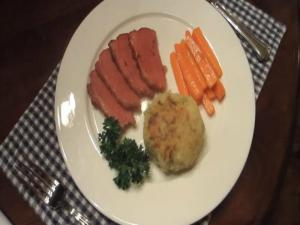 St Patrick's Day Dinner (Glazed Corned Beef-Colcannon Cakes-Glazed Carrots)