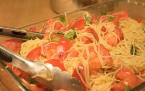 Tomato, Cheese and Basil Broiled Pasta