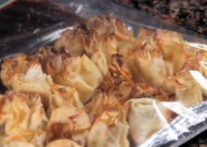 Tofu Wonton Bites with a Chili Honey Dip
