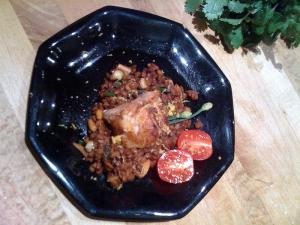 Moroccan style White Bass on Konkani Lentils (kulith)