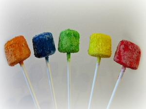 Skittles Covered Marshmallow Pops