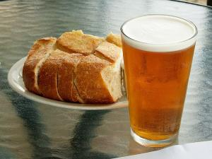 sourdough bread with a pint of beer