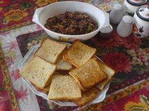 Mix veg with Buttered Bread Toast