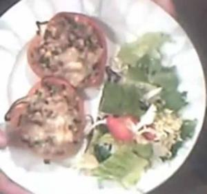 Minced Beef And Cooked Rice Stuffed Pepper