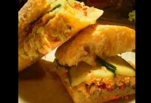 Creamy Cucumber and Salmon Ciabatta Sandwich