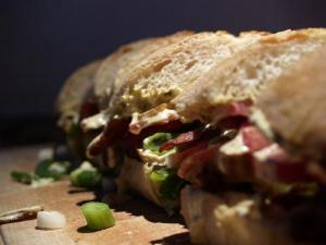 Grilled Eggplant Red Onion and Pepper Sandwich with Basil Mayonnaise