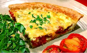 Mom's Favorite Tomato Bacon and Cheddar Quiche