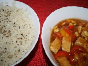 Tofu in Pineapple Chili Sauce