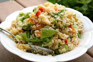 Spinach, Rice and Bell Pepper Salad