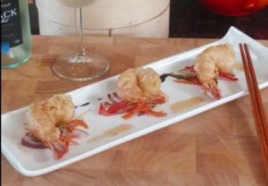 Thai Crispy Fried Sesame Prawns with Salad and Dip