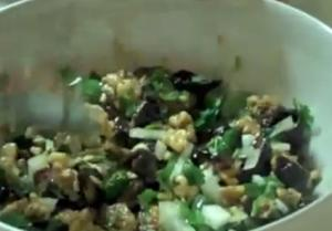 Broiled Eggplant and Walnut Salad