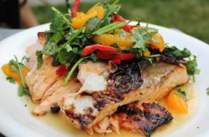 Mandarin Orange Vinaigrette Marinated Grilled Salmon
