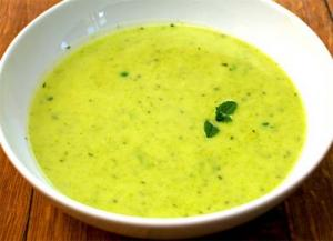 Cold Cream Of Pea Soup with Mint