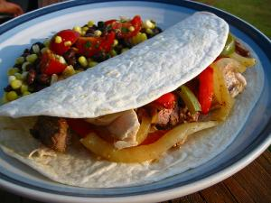 A rolled up fajita