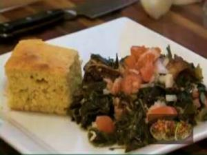 Collard Greens with Smoked Turkey Wings and Cornbread (Cooking with Carolyn)